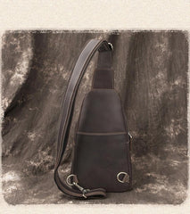 Cool Black Mens Leather Sling Bag Sling Backpack Chest Bag Sling Shoulder Bag For Men