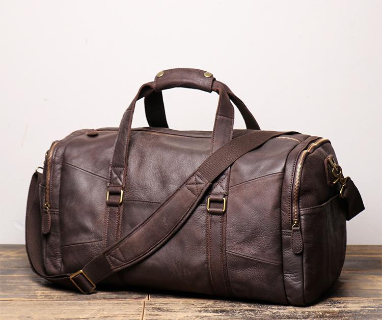 "Cool Brown Leather Mens  16"" Large Weekender Bag Sport Travel Bag Duffle Bag for Men"
