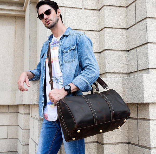 Cool Brown Leather Mens Weekender Bag Dark Coffee Travel Duffle Bag for Men