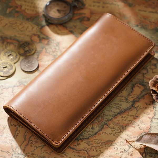 Cool Black Mens Leather Bifold Long Wallets Checkbook Wallet for Men with Coin Holder