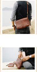 Cool Leather Mens Small Side Bag Leather Courier Bags Messenger Bags Side Bag for Men