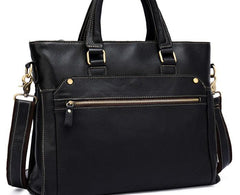 Cool Black Leather Mens Briefcase 13inch Work Bag Business Bag For Men