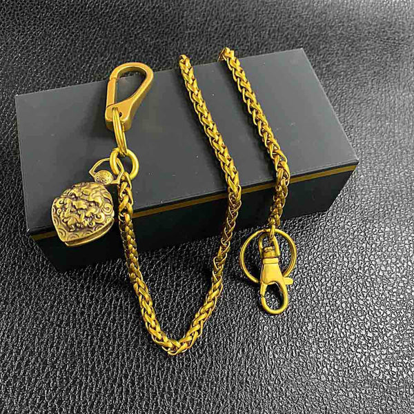 "Cool Brass 18"" Mens Lion Bell Key Chain Pants Chain Wallet Chain Motorcycle Wallet Chain for Men"