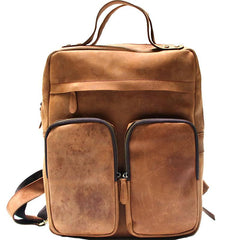Cool Brown Mens Leather Backpack Travel Backpacks Laptop Backpack for men