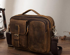 Vintage Brown Leather Small Messenger Bag Small Side Bag Shoulder Bag For Men