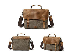 Waxed Canvas Leather Mens Casual Briefcase Computer Bag 14'' Messenger Bag For Men