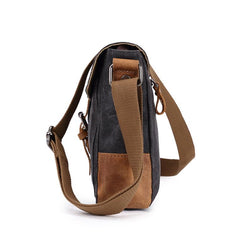 Cool Waxed Canvas Leather Mens Casual Green Gray Motorcycle Side Bag Messenger Bag Backpack For Men