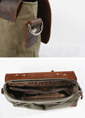 Cool Canvas Leather Mens Gray 14'' Office Handbag Shoulder Bag Messenger Bag For Men