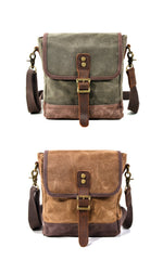 Cool Canvas Leather Mens Small Green Messenger Bag Vertical Side Bag Shoulder Bag For Men