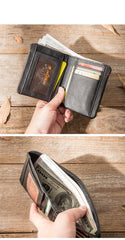 Cool Brown Leather Mens Small Wallets Bifold Black Vintage Slim billfold Wallet for Men