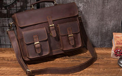 Cool Coffee Leather Mens Briefcase 14inch Laptop Bag Work Handbag Business Bag for Men