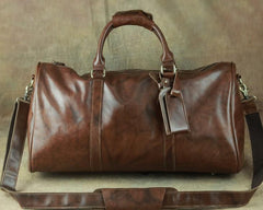 Cool Coffee Brown Leather Mens Large Travel Bag Overnight Bag Weekender Bags For Men