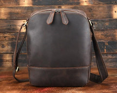 Cool Dark Brown Leather Mens Tablet Messenger Bag Small Side Bag Courier Bag For Men