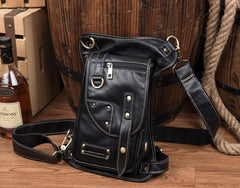 Cool Leather Belt Pouch Mens Chest Bag Backpack Shoulder Bag for Men