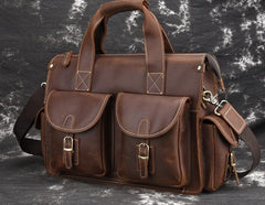 Cool Leather Briefcase 14inch Laptop Handbag Work Bag Travel Bag For Men