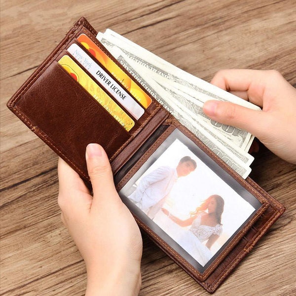 Cool Leather Brown Men's Business Zipper billfold Small Wallet Black Bifold Wallet Card Wallet For Men