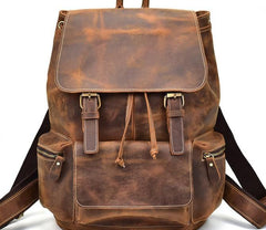 Cool Leather Black Coffee Mens Satchel Backpacks Travel Backpack 14inch Laptop Backpack for Men
