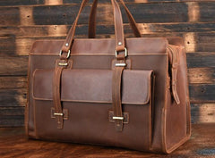 Cool Leather Mens Large Vintage Overnight Bag Weekender Bag Travel Bags For Men