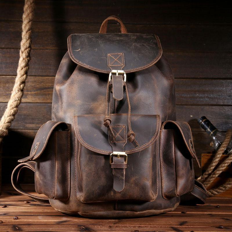 Cool Leather Mens Backpacks Large Vintage School Backpack Travel Backpack Bag for Men