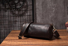 Cool Leather Mens Barrel Side Bag Bucket Shoulder Bag Messenger Bag for Men