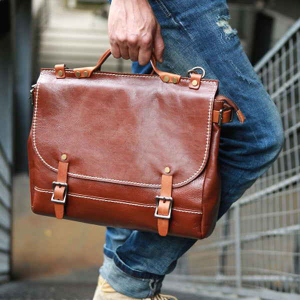 Cool Leather Mens Briefcase Messenger Bag Handbag Shoulder Bag for men