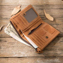 Cool Leather Mens Brown Small Wallet Bifold Vintage Slim billfold Wallet for Men