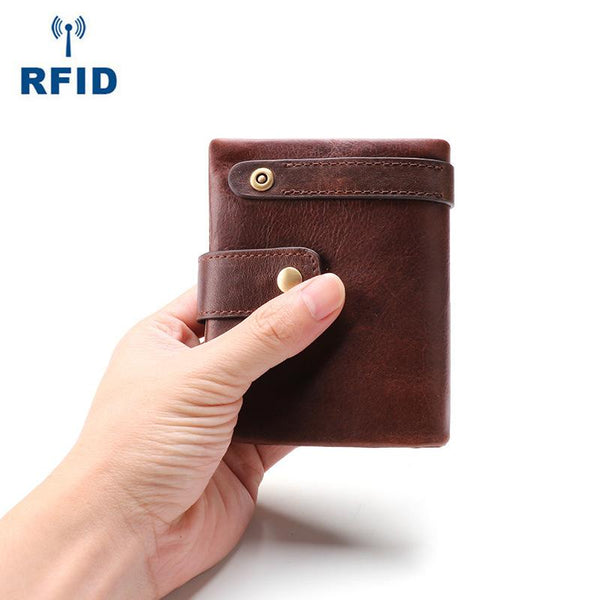 Cool Leather Mens Small Bifold Brown Wallet billfold Wallet RFID Front Pocket Multi-card Wallets for Men