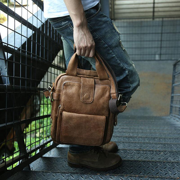 Cool Leather Mens Small Handbag Messenger Bag Shoulder Bag for men