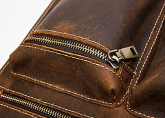 Cool Leather Mens Vintage Brown Small Side Bag Messenger Bag Shoulder Bag for Men