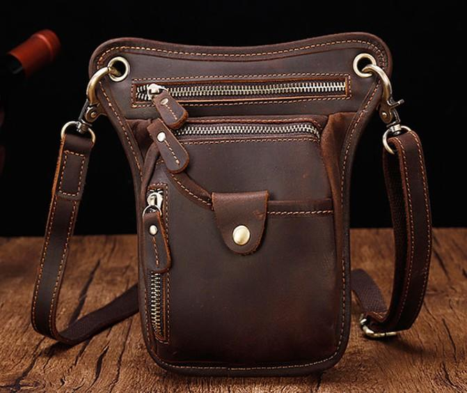 Cool Leather Small Side Bag Messenger Bag Waist Bag Small Shoulder Bag For Men
