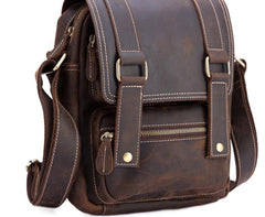 Cool Leather Vintage Mens Brown Small Side Bag Small Shoulder Bags For Men