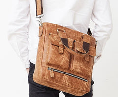 Cool Light Brown Vintage Leather Small Handbag Briefcase Fashion Work Bag For Men