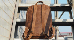 Cool Mens Leather 15inch Laptop Backpack Travel Backpacks Leather School Backpack for Men