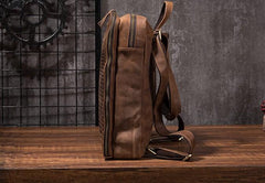 Cool Mens Leather Alligator Pattern Backpack Travel Backpacks Leather Hiking Backpack for Men