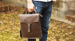 Cool Mens Leather School Backpack Travel Backpack Leather Satchel Backpack for Men