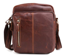Cool Brown Leather Mini Messenger Bags Small Tablet Messenger Bag Side Bag For Men