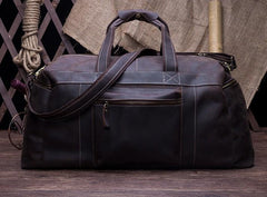 Cool Vintage Coffee Black Leather Mens Overnight Bags Travel Bags Weekender Bags For Men
