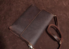 Cool Vintage Dark Brown Leather Mens Courier Bags Small Side Bags Messenger Bag For Men