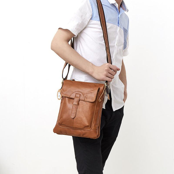 Dark Coffee LEATHER MENS Ipad Vertical SIDE BAG COURIER BAG Small Vertical MESSENGER BAG FOR MEN