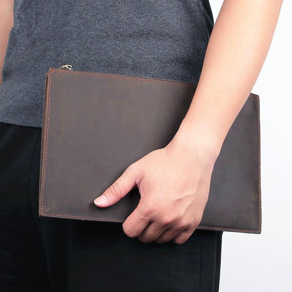 Vintage Coffee Leather Mens Wristlet Wallet Purse Zipper Clutch Wallet For Men