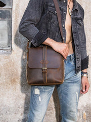Dark Brown Casual Leather Mens 10 inches Vertical Side Bag Postman Bag Brown Messenger Bag Courier Bag for Men