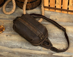 Casual Dark Brown Leather Mens One Shoulder Backpacks Sling Bags Chest Bags for Men