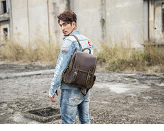 Dark Brown Cool Mens 15 inches Leather Computer Backpacks Travel Backpacks Laptop Backpack for men