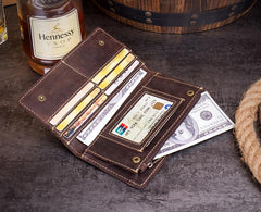 Dark Brown Cool Mens long Wallet Bifold Long Wallet Phone Wallet for Men