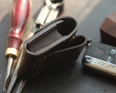 Dark Brown Handmade Leather Mens Black Car Key Holder Car Key Case with Belt Loop For Men