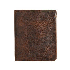 Dark Brown Handmade Leather Mens Front Pocket Wallets Bifold Vintage billfold Wallet Small Wallet for Men