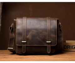 Cool Dark Brown Leather 11 inches Mens Small Messenger Bags Side Bag Brown Courier Bag for Men