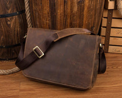 Dark Brown Leather 13 inches Mens Messenger Bags Courier Bags Postman Bag for Men