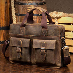 Leather Mens 13 inches Briefcase Dark Brown Laptop Bags Business Bags Work Bags for Men