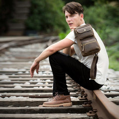 Cool Brown Leather Mens Sling Pack Sling Bags Coffee Crossbody Pack Chest Bag for men